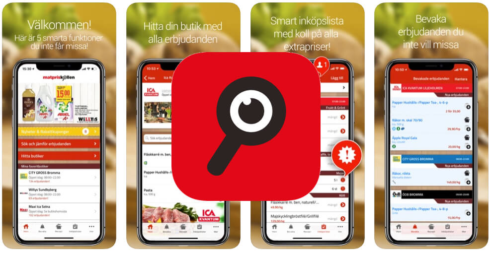 Spara pengar app Matpriskollen
