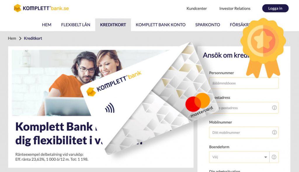 Komplett bank bästa kreditkortet